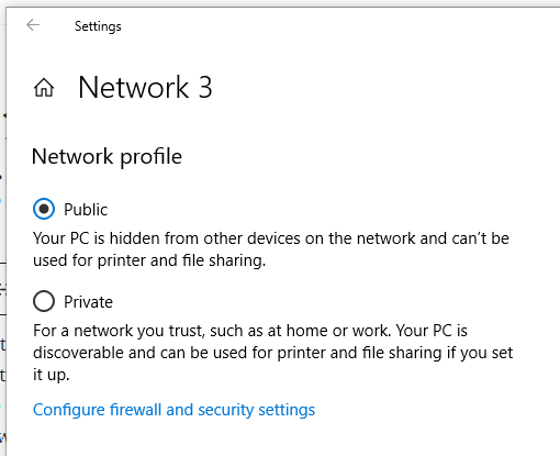 The Public network profile on Windows PCs will prevent other devices on the local network from connecting to it